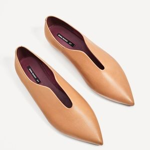 Zara camel leather flats sz 38/7.5